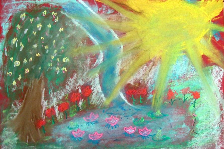 Rysunek ogrodu suchymi pastelami