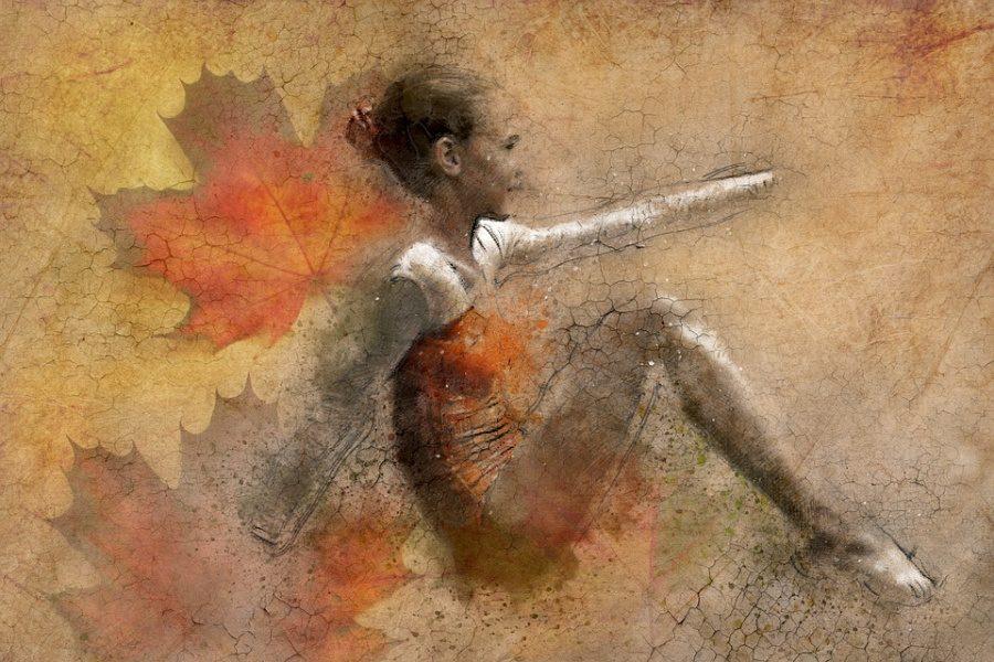 Zdjęcie przedstawia klimat jesienny z dziewczynką siedzącą na podłodze w pozycji tanecznej.
