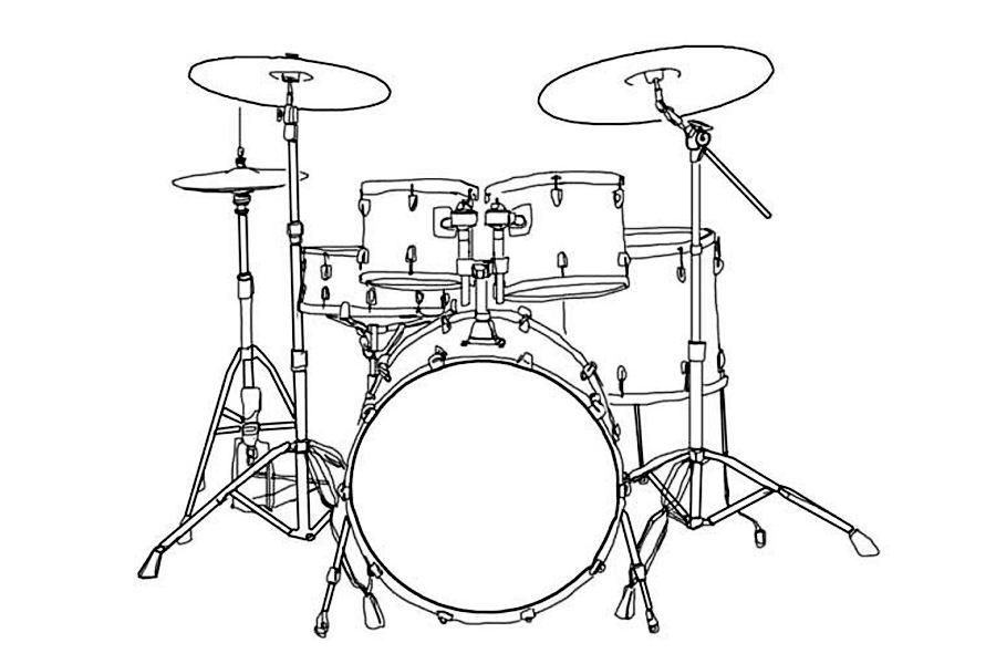 naszkicowany zestaw perkusyjny złożony z bębna, tom-tomów oraz talerzy