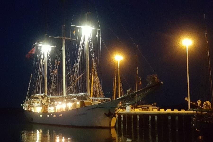 Żaglowiec STS KAPITAN BORCHARDT w nocy przycumowany do oświetlonego nabrzeża lewą burtą (włączone oświetlenie pokładu statku)