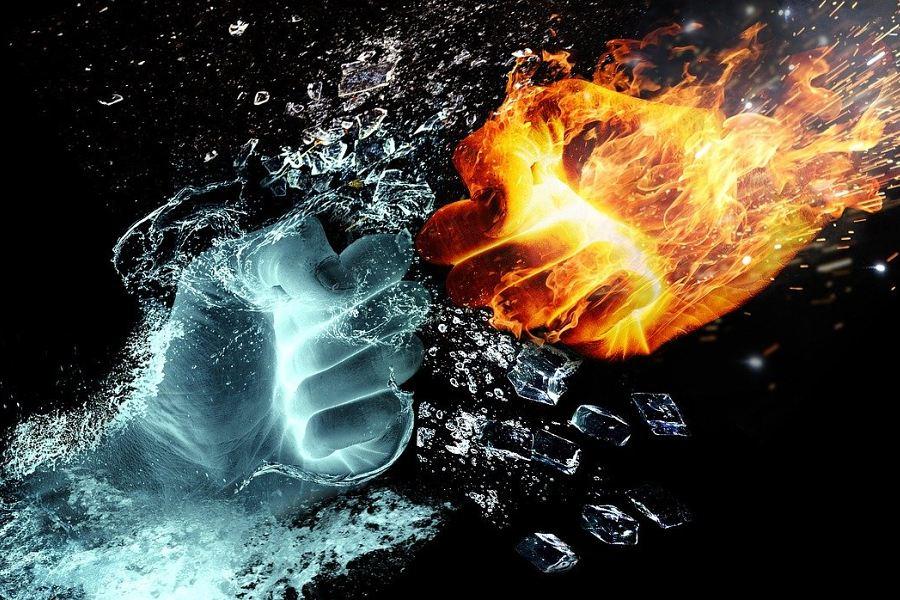 dwie pięśći wodna i ognista - grafika