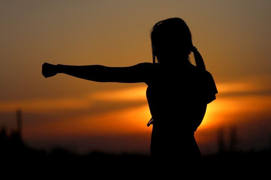 postać karateki na tle zachodzącego słońca