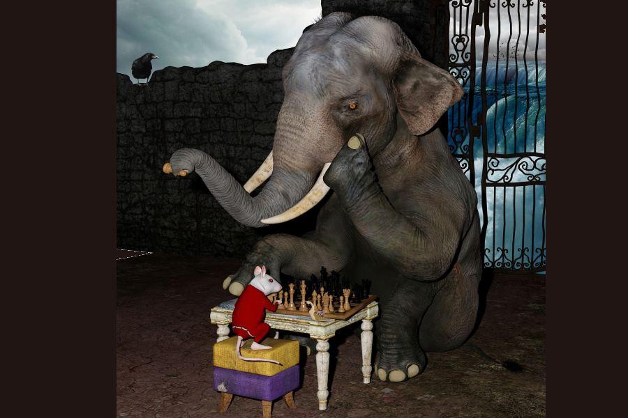 słoń i mysz grają w szachy