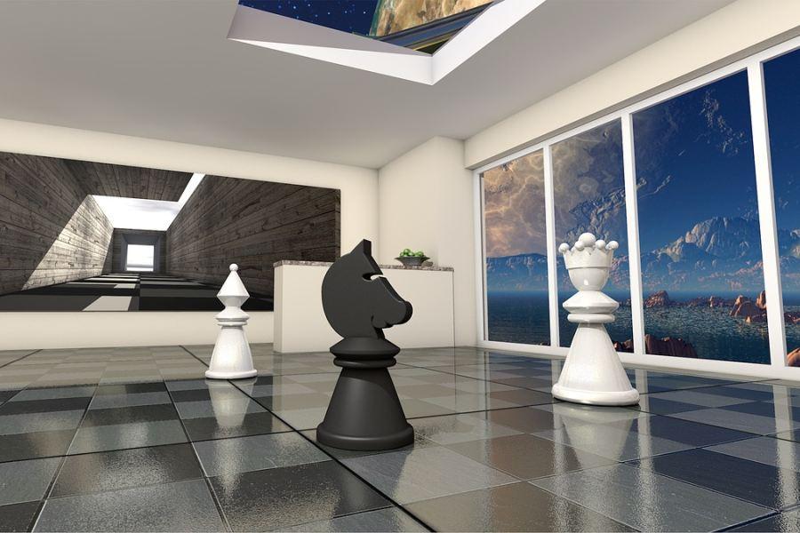 Abstrakcja – pionek, skoczek i hetman w przestrzennej sali.