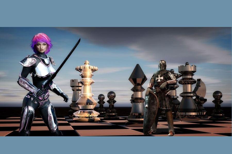 Rycerze – kobieta i mężczyzna w zbroi – na szachownicy z figurami.