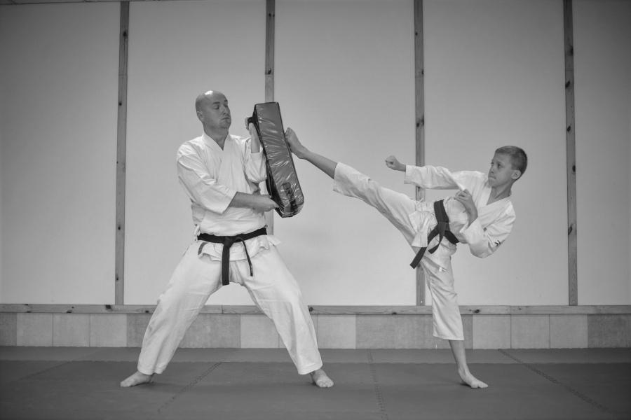 Na zdjęciu karateka wykonujący kopnięcie yoko geri kekomi na tarczę trzymaną przez Sensei.