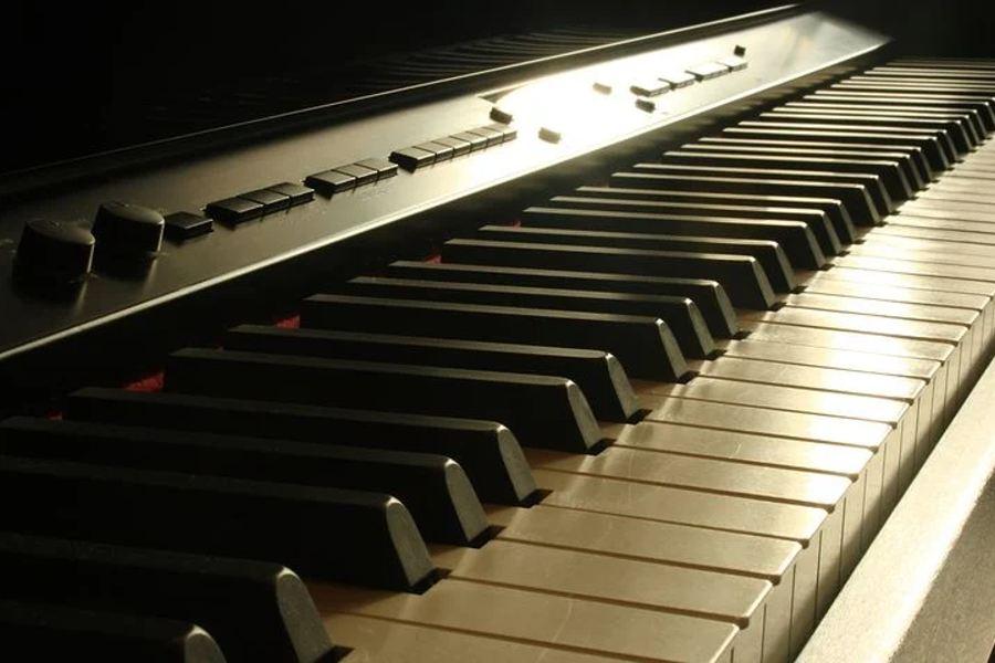 fragment klawiatury pianina elektrycznego.