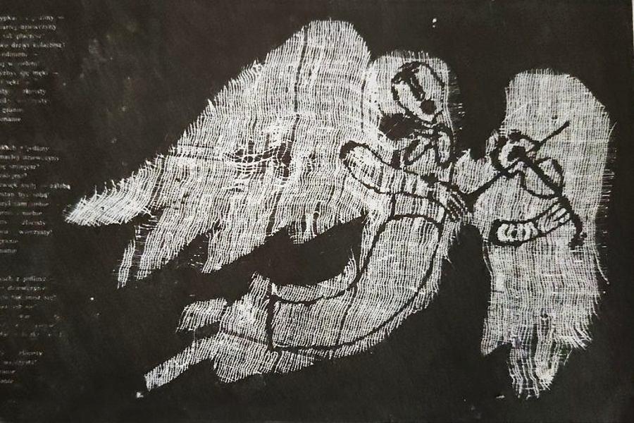 Janusz Stanny - na czarnym tle biały anioł gra na skrzypcach; ilustracja do wiersza B.Leśmiana w Antologii poezji