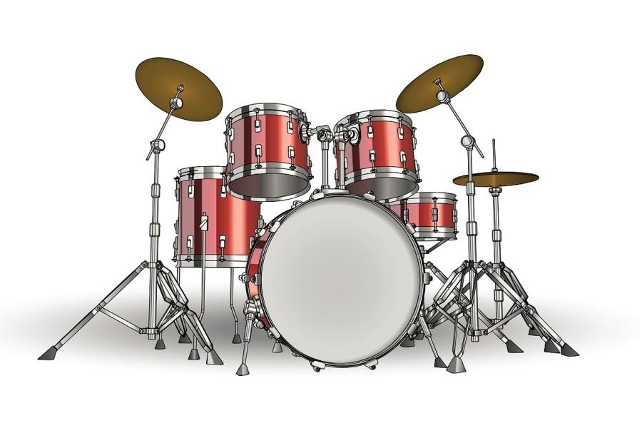 Rysunek przedstawia zestaw perkusyjny w kolorze czerwonym