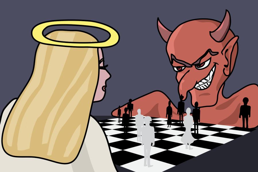 grafika anioł gra z diabłem w szachy