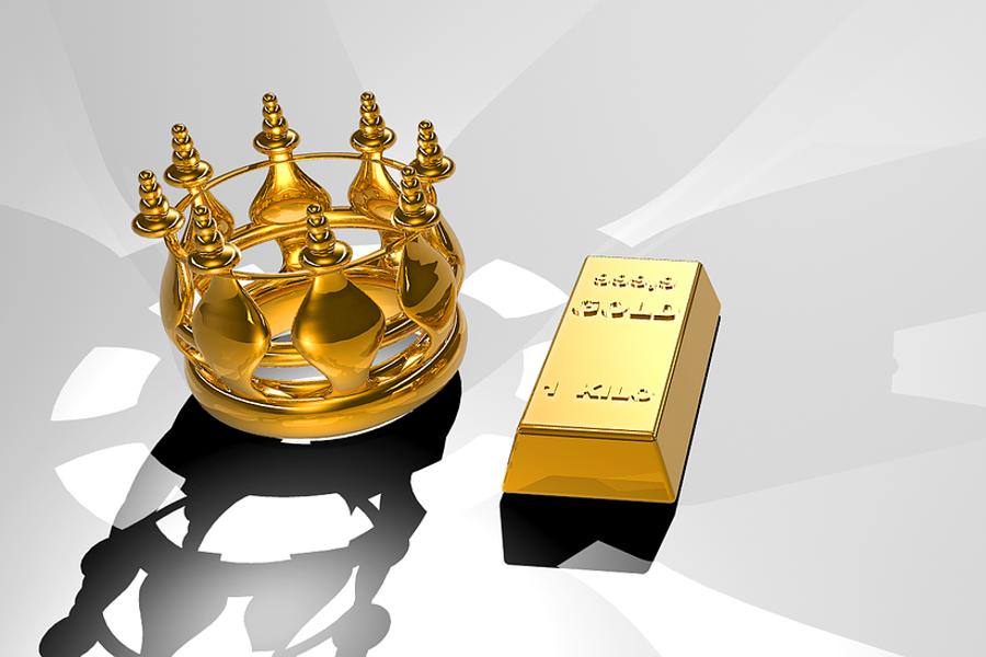 złota korona i sztabka złota