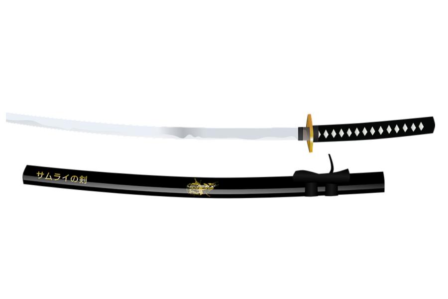 Grafika przedstawia japoński miecz- katane.
