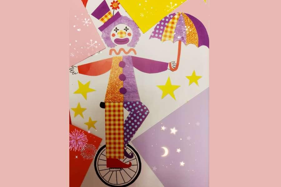 igura klauna z różnokolorowych papierów na kole. 365 rzeczy z papieru i tektury