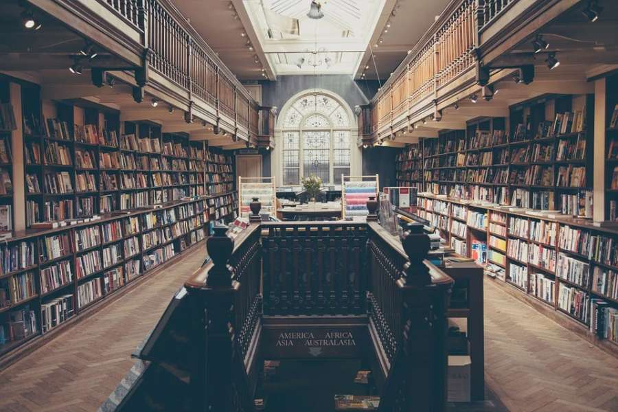 na zdjęciu biblioteka pełna książek