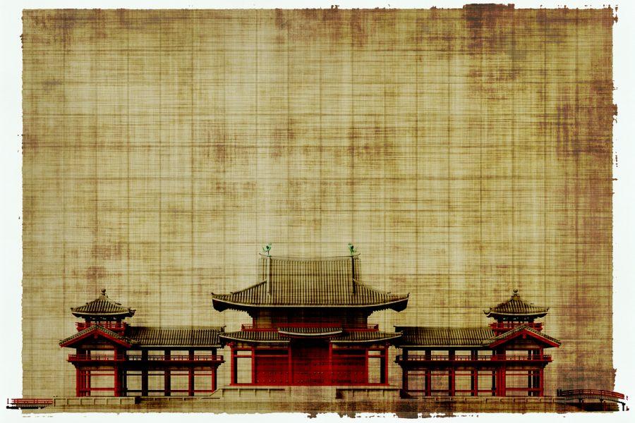 zabudowa w stylu japońskim na pergaminie