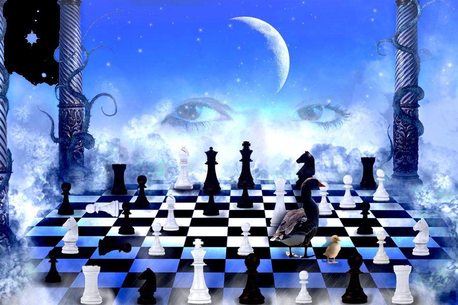 grafika z szachami i ksieżycem w tle