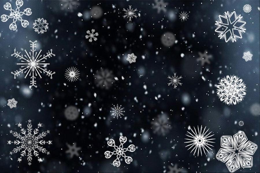 płatki śniegu na ciemnym tle