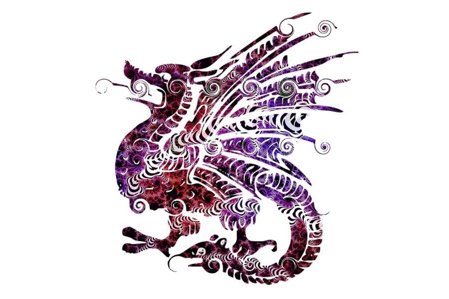 grafika wesołego gryfa z otwartym pyskiem, ze skrzydłami i zakręconym ogonem w kolorach fioletowo-bordowo-czarnych