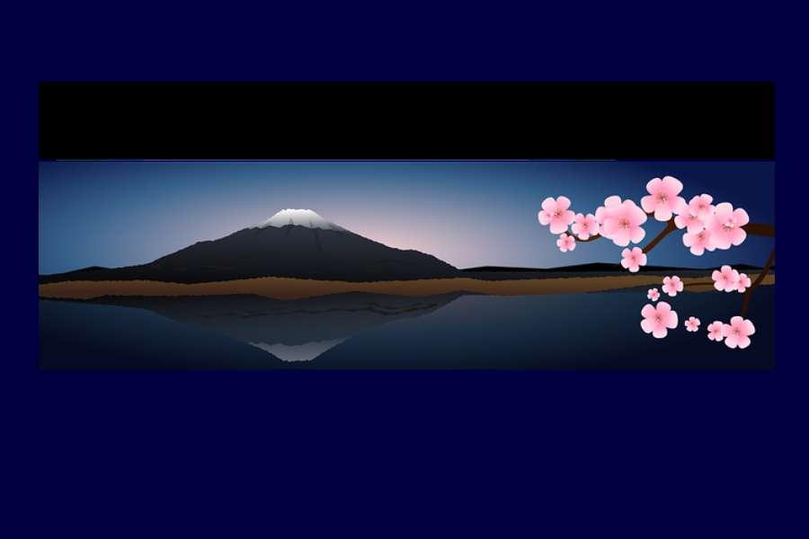 grafika przedstawia górę Fuji oraz gałąź kwitnącej wiśni