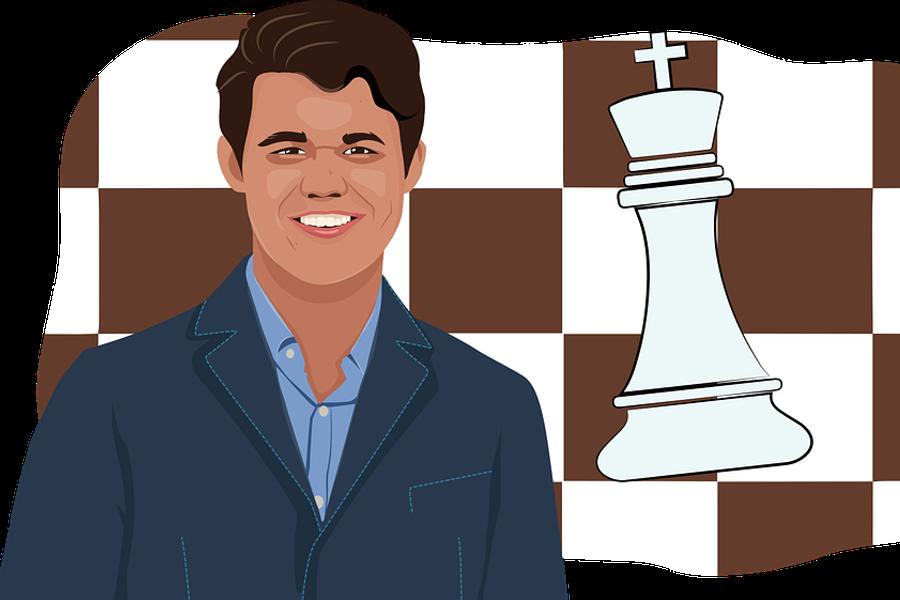 Mistrz świata na tle szachownicy z królem