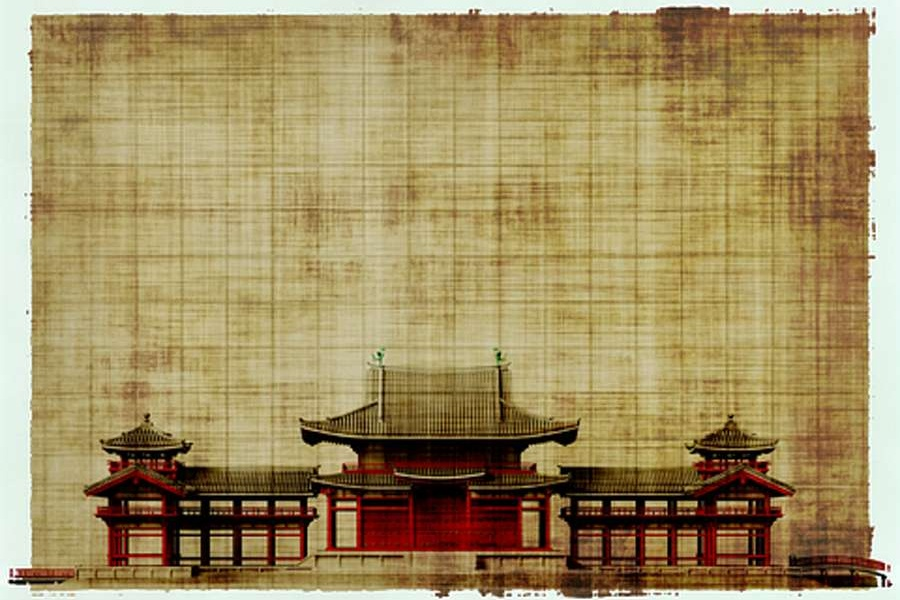 pałac japoński na płotnie