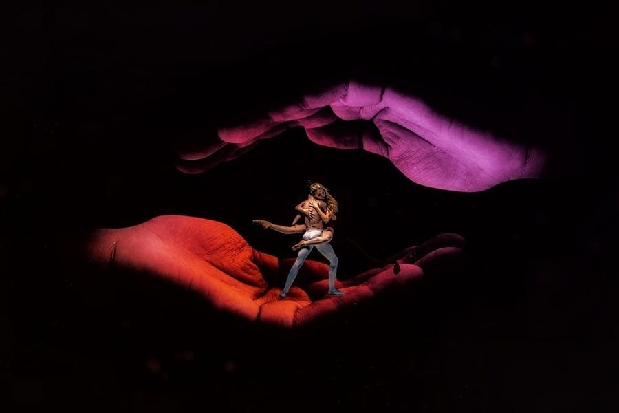 Zdjęcie przedstawia dwie dłonie. Dłoń od dołu i dłoń od góry, a pomiędzy dłońmi para tancerzy.