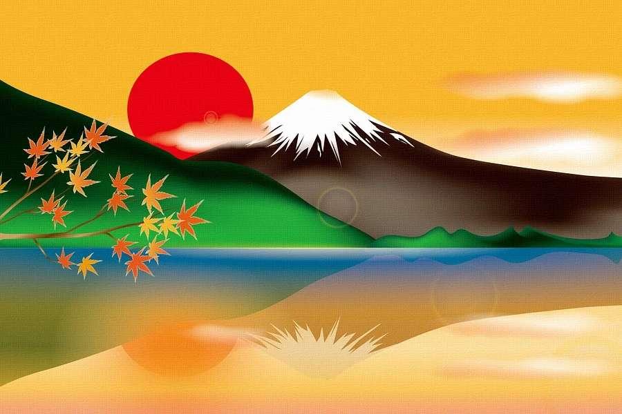 Grafika przedstawia górę Fuji podczas zachodu słońca.