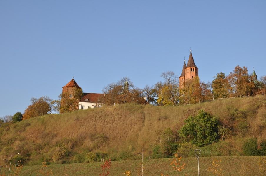 Płock, wzgórz porośnięte trawą, na wzniesieniu bazylika katedralna wniebowzięcia NMP