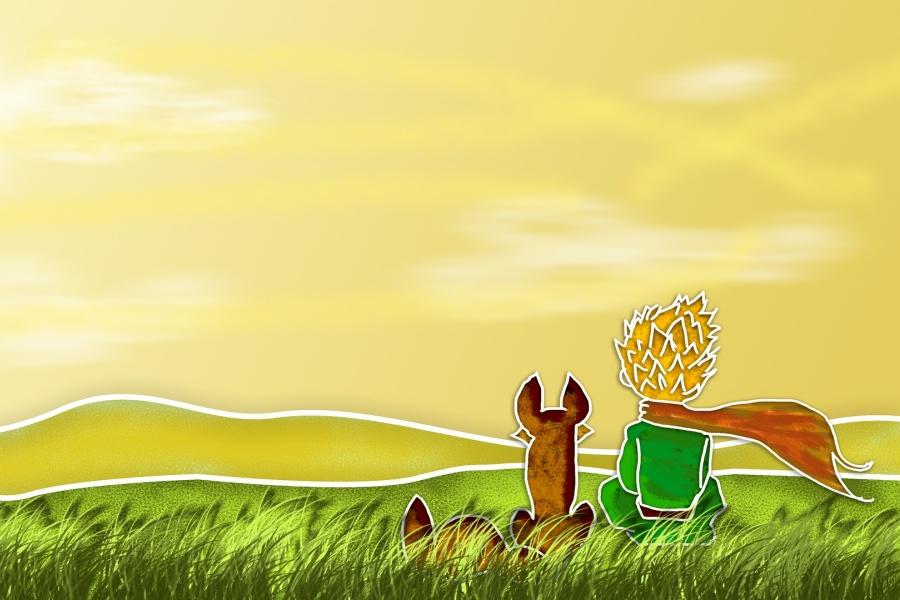 przedstawia sylwetki Małego Księcia i Lisa siedzących na trawie tyłem do oglądającego