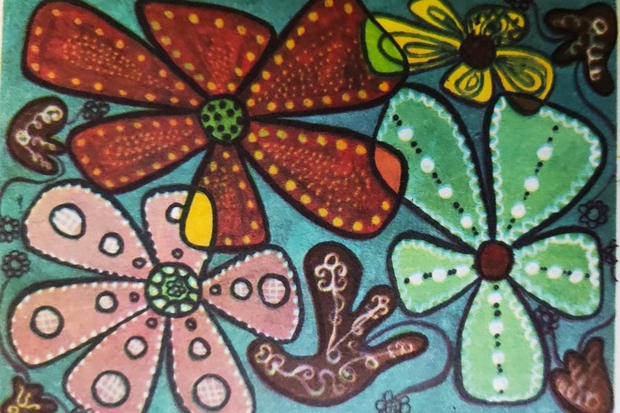 kwiaty maowane na szkle