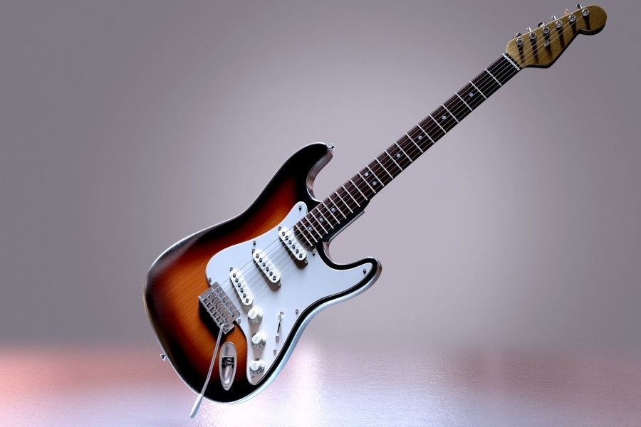 Gitara elektryczna na jasnym tle