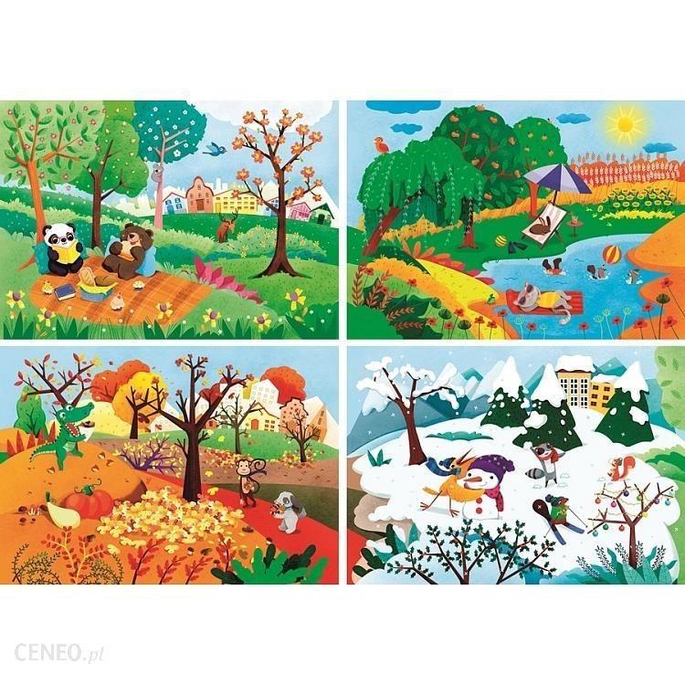 kolorowe rysunki przedstawiające 4 pory roku