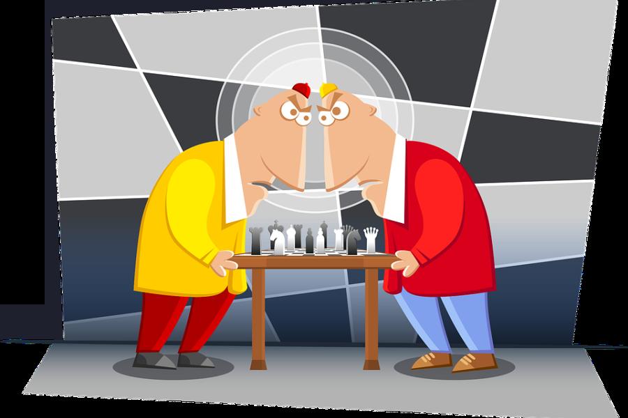 grafika dwaj gracze szachowi pochyleni nad planszą