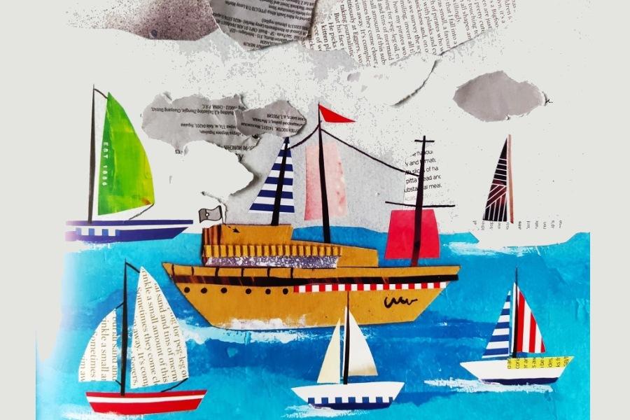 wyklejanka ze statkami wycietymi z gazety
