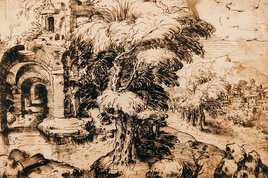 Krajobraz rysowany piórkiem czarnym i brązowym tuszem przedstawia drzewo z obfitą koroną zasłaniające po lewej stronie ruiny romańskiej budowli;
