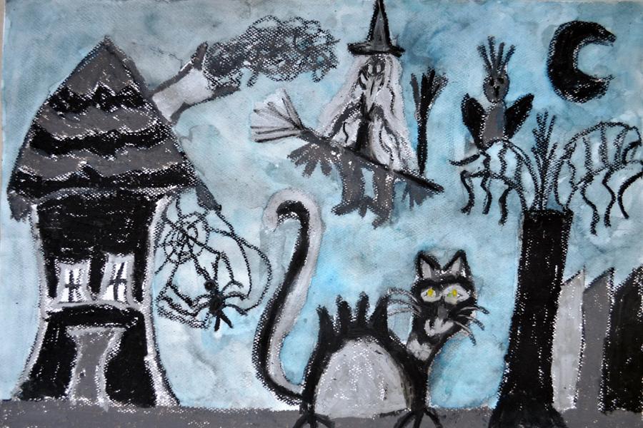 rysunek czarną pastelą kot i czarownica