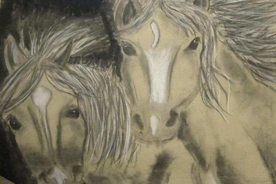 dwie końskie głowy w zbliżeniu z przodu z rozwianymi grzywami, narysowane czarnym i białym węglem na pakowym szarym papierze.