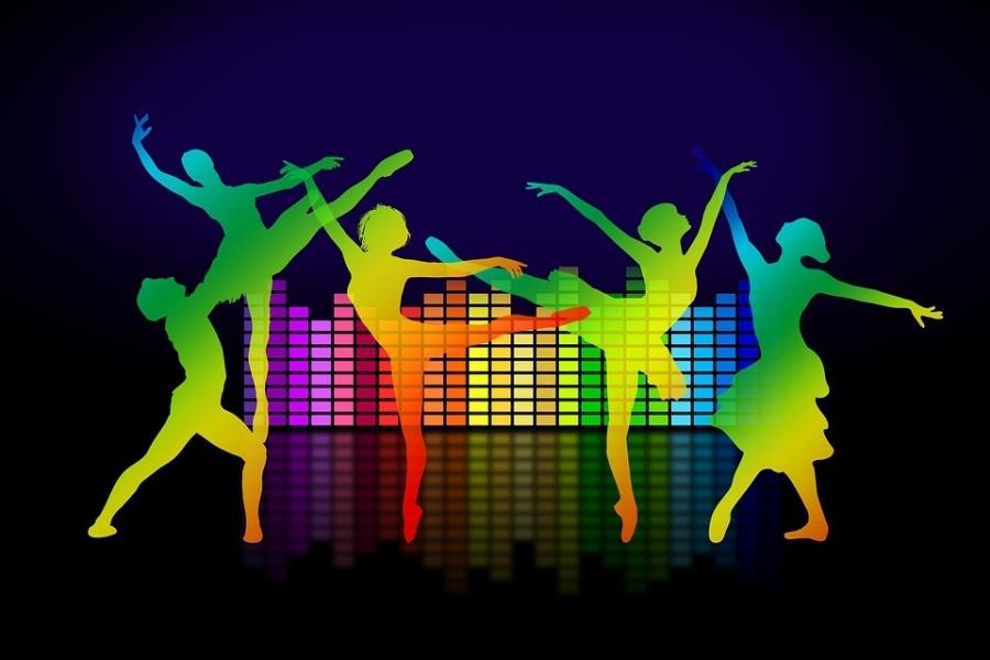 grafika przedstawiajaca grupę osób tańczących na tle miasta