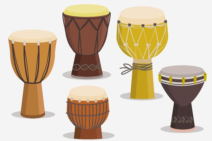 pięć kolorowych bębnów djembe - grafika
