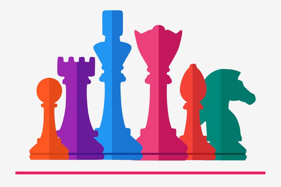 kolorowe pionki szachowe