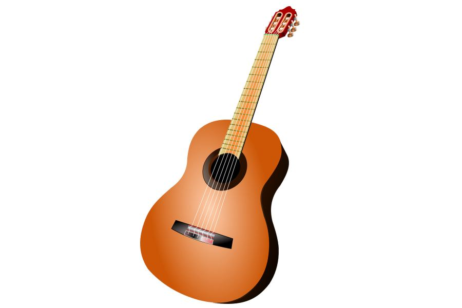 gitara klasyczna na białym tle