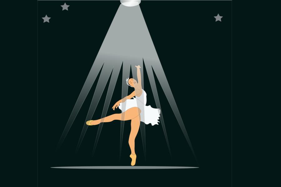 grafika przedstawiająca baletnicę robiącą piruet
