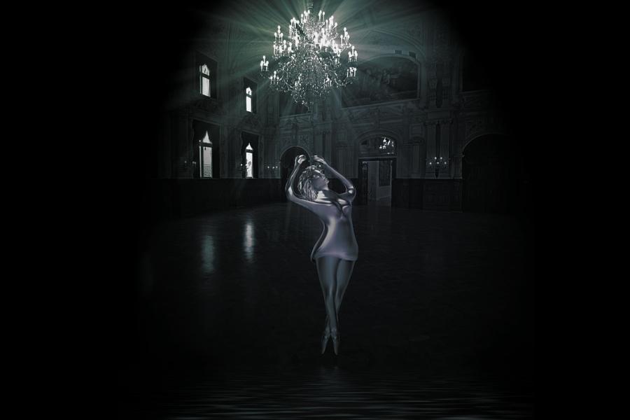 wirtualna baletnica w sali balowej