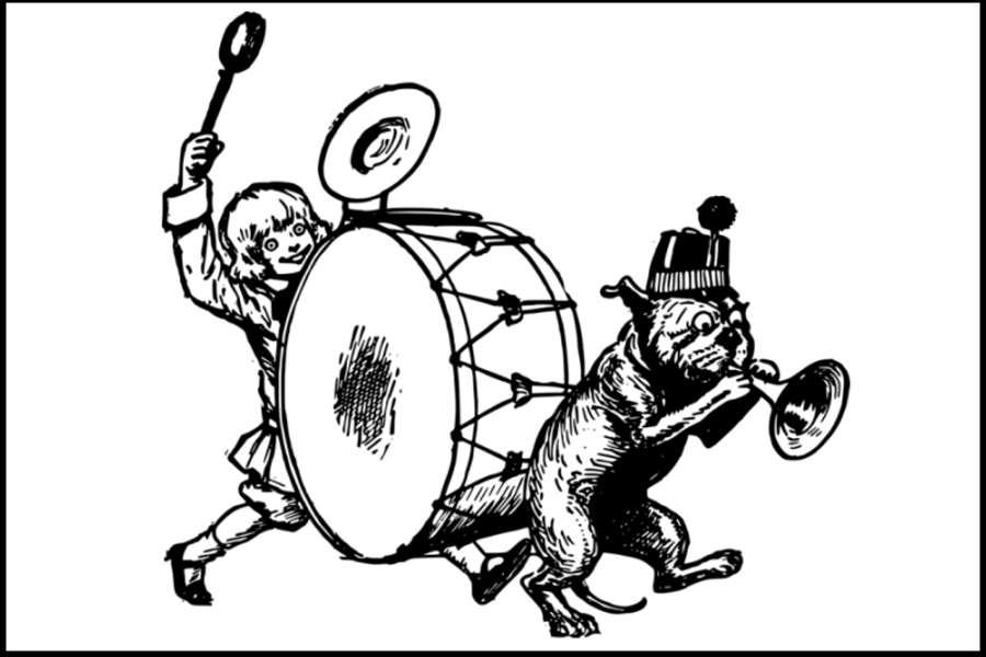 Rysunek przestawia chłopca grającego na dużym bębnie oraz kota w kapeluszu grającego na czymś w rodzaju trąbki