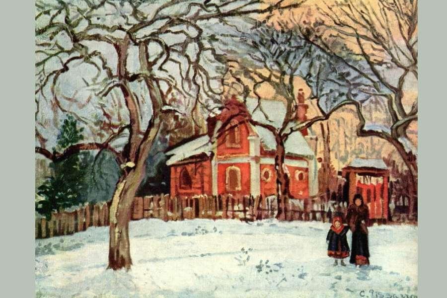 obraz w pastelowych kolorach ukazuje biało- błękitny plac z wysokimi drzewami kasztanowców o powyginanych gałęziach na tle ogrodzenia, za którym stoi czerwony piętrowy dom z ośnieżonym dachem.