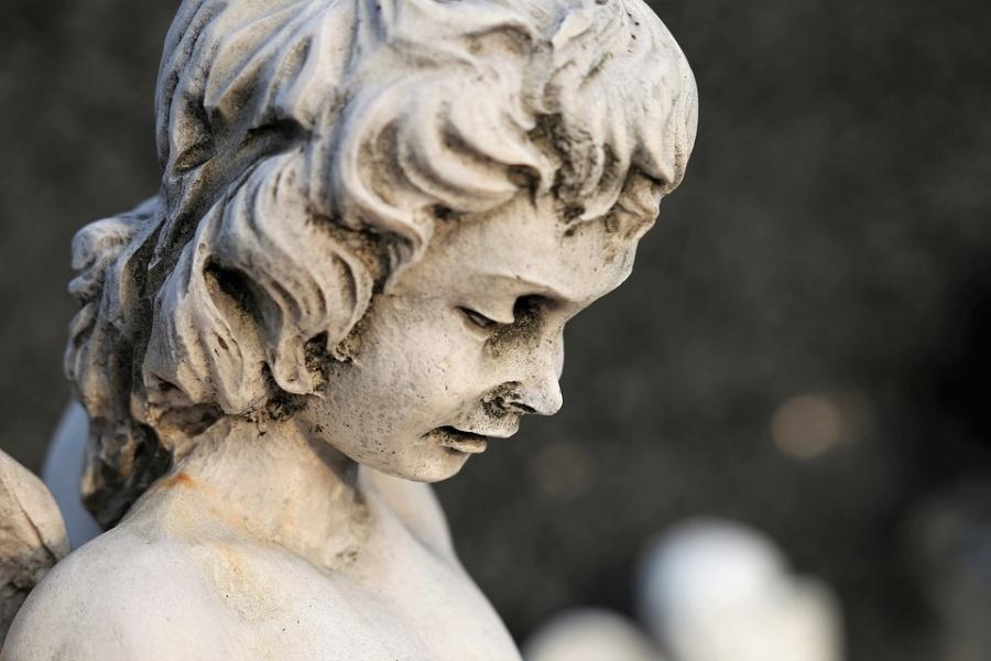 głowa gipsowego anioła