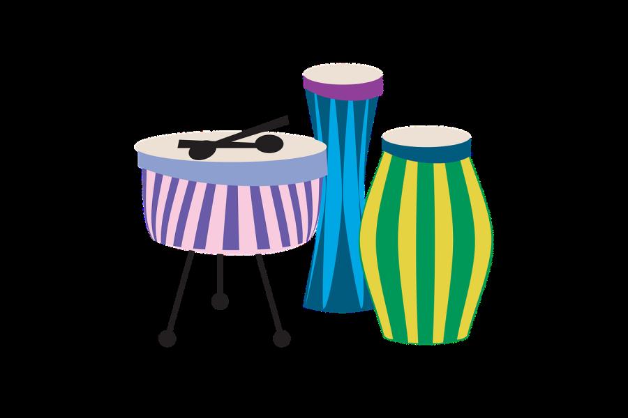 Rysunek przedstawia trzy różnokolorowe instrumenty perkusyjne. Dwie congi na których gramy dłońmi oraz tzw. kocioł na którym gra się pałeczkami.