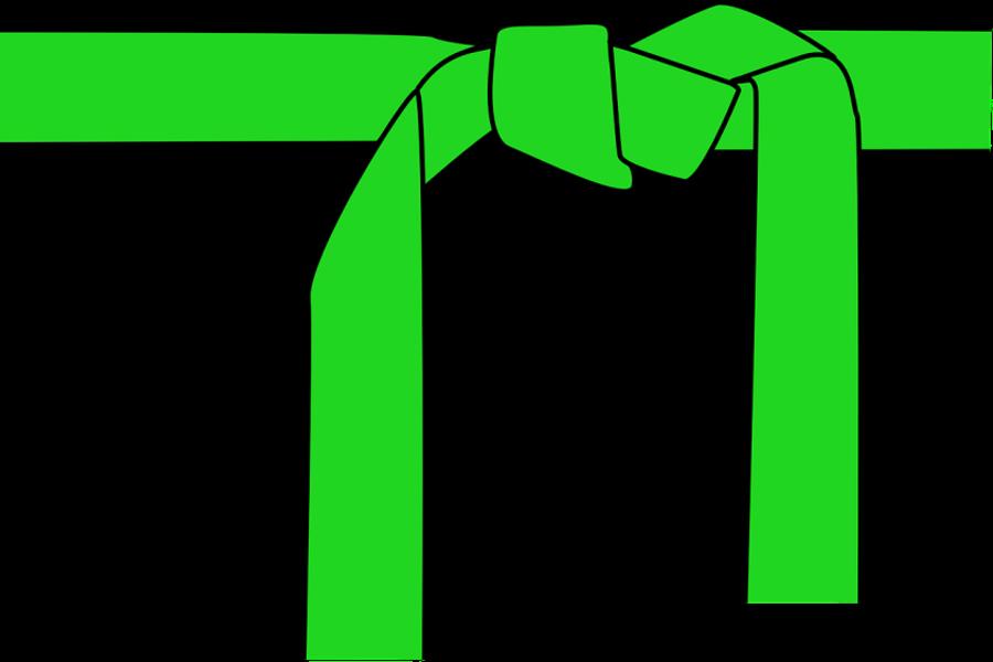 Grafika przedstawiająca zielony zawiązany zielony pas.