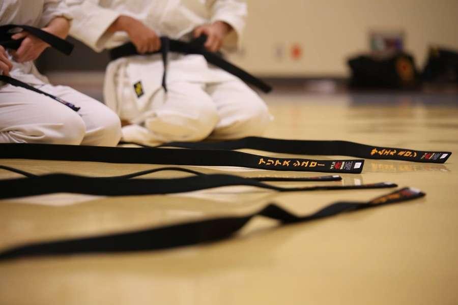 Zdjęcie przedstawia karateków siedzących w seiza na dojo, na połodze leżą czarne pasy
