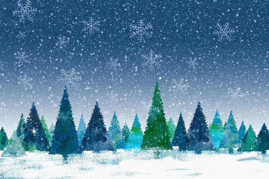 kartka świąteczna - zimowa grafika